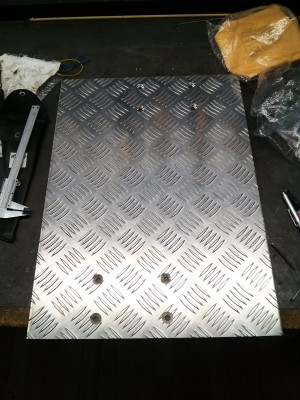 Aluminium checker plate - ready to mount the motors