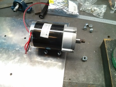 Motor bolted onto frame