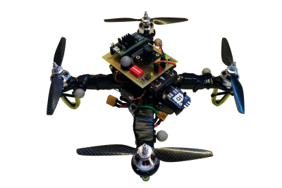 F250 Quadcopter with Pixhawk and vision-based Spartan-6 control system on top.