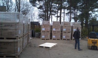 Hundreds of solar panels delivered from China